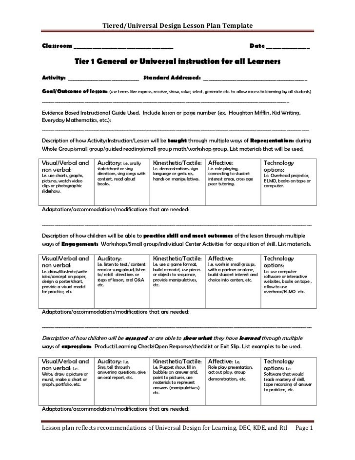 Tiered Lesson Plan Template - Universal design for learning lesson plan template