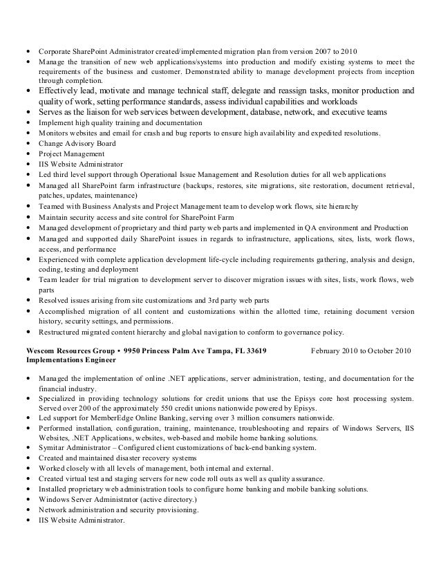 sharepoint content manager resume 100 pmo resume director