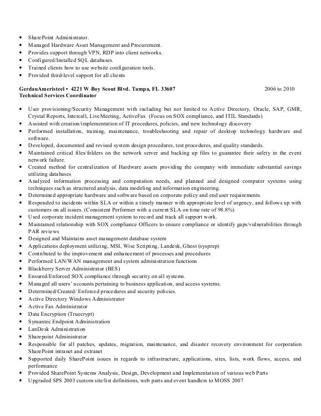 Great Sharepoint Skills On Resume Job Resume Samples Sharepoint Administrator  Resume Sample