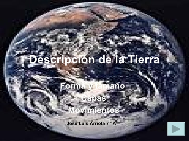 """Descripción   de la Tierra Forma y tamaño  Capas Movimientos José Luís Arriola 7 """"A"""""""