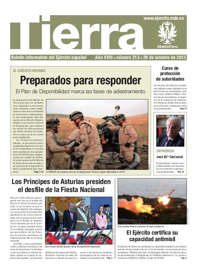 Tierra  www.ejercito.mde.es  Boletín informativo del Ejército español  #BoletínTierra  Año XVIII número 213 29 de octubre ...