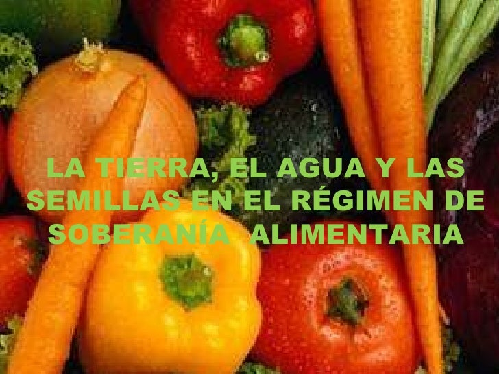 LA TIERRA, EL AGUA Y LAS SEMILLAS EN EL RÉGIMEN DE SOBERANÍA  ALIMENTARIA