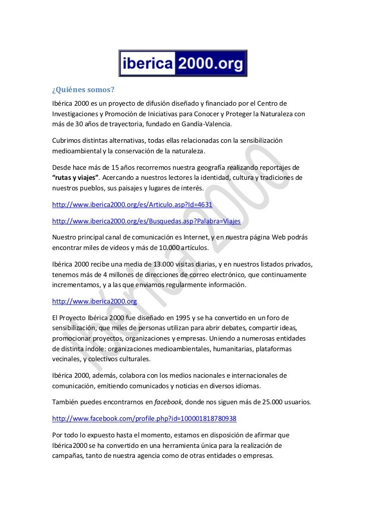 ¿Quiénes somos?Ibérica 2000 es un proyecto de difusión diseñado y financiado por el Centro deInvestigaciones y Promoción d...