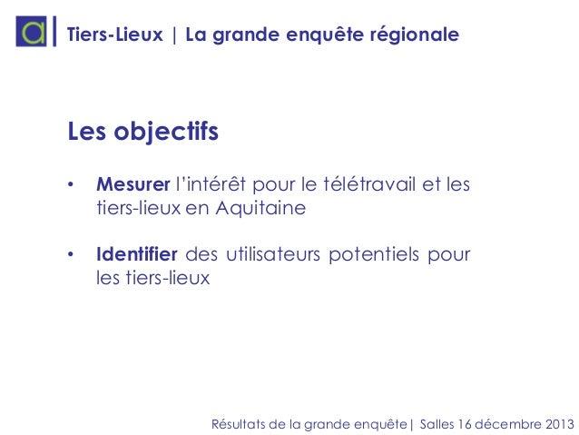 Tiers-Lieux | La grande enquête régionale  Les objectifs •  Mesurer l'intérêt pour le télétravail et les tiers-lieux en Aq...