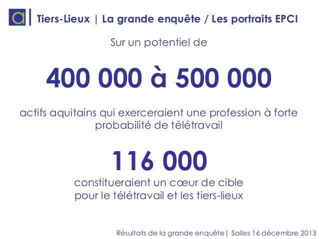Tiers-Lieux | La grande enquête / Les portraits EPCI  Sur un potentiel de  400 000 à 500 000 actifs aquitains qui exercera...