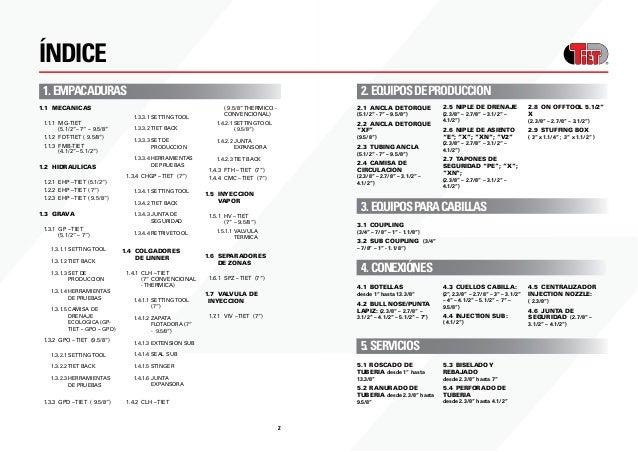 """32 ÍNDICE 1.EMPACADURAS 1.1 MECANICAS 1.1.1 MG-TIET  (5.1/2""""– 7"""" – 9.5/8"""" 1.1.2 FDT-TIET ( 9.5/8"""") 1.1.3 FMB-TIET ..."""