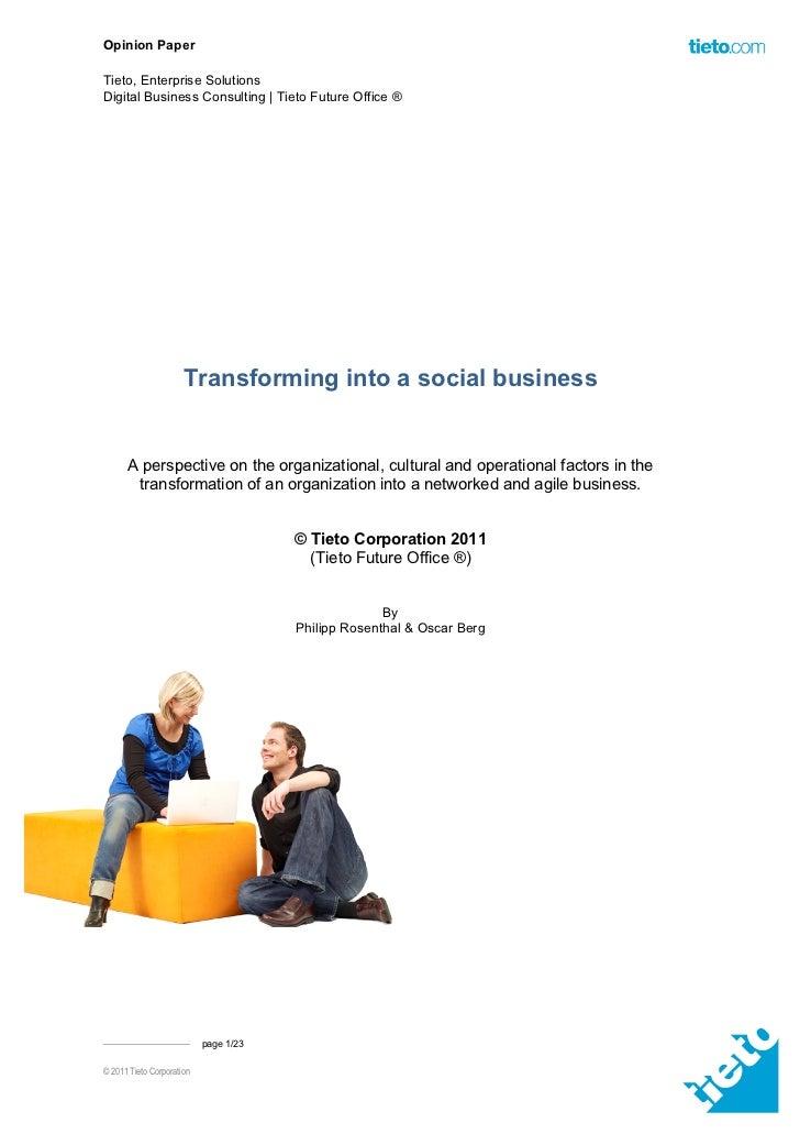 Opinion PaperTieto, Enterprise SolutionsDigital Business Consulting | Tieto Future Office ®                      Transform...