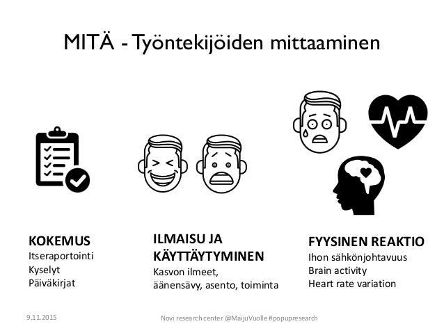 MITÄ - Työntekijöiden mittaaminen KOKEMUS Itseraportointi Kyselyt Päiväkirjat FYYSINEN REAKTIO Ihon sähkönjohtavuus Brain ...