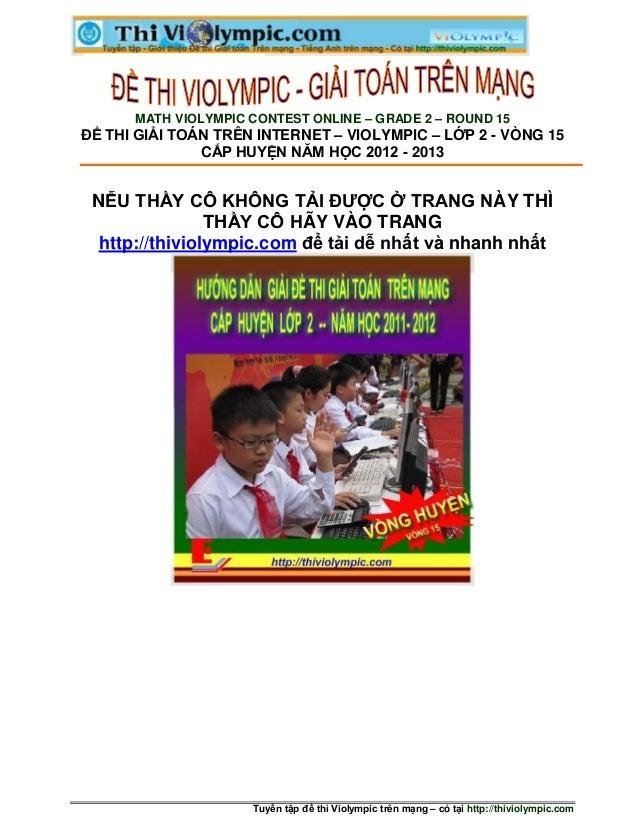 MATH VIOLYMPIC CONTEST ONLINE – GRADE 2 – ROUND 15ĐỀ THI GIẢI TOÁN TRÊN INTERNET – VIOLYMPIC – LỚP 2 - VÒNG 15            ...