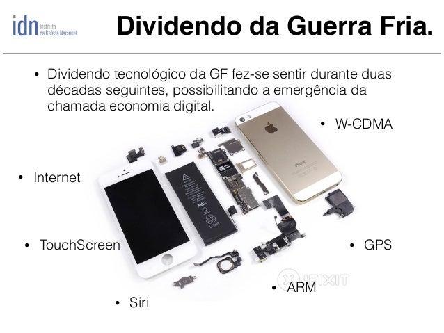 Dividendo da Guerra Fria. • Internet • GPS • Siri • ARM • TouchScreen • W-CDMA • Dividendo tecnológico da GF fez-se sentir...
