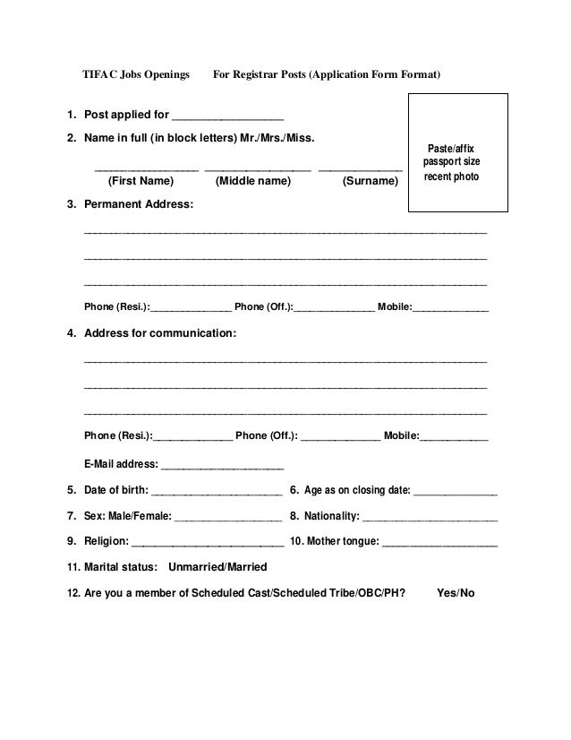 TIFAC Jobs Openings For Registrar Posts (Application Form Format)