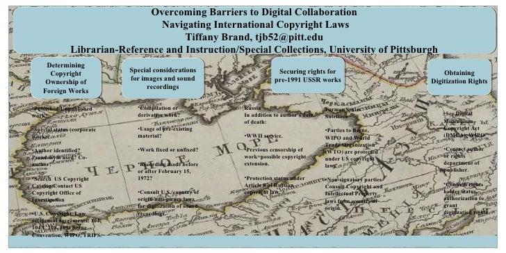 Overcoming Barriers to Digital Collaboration Navigating International Copyright Laws Tiffany Brand, tjb52@pitt.edu Librari...