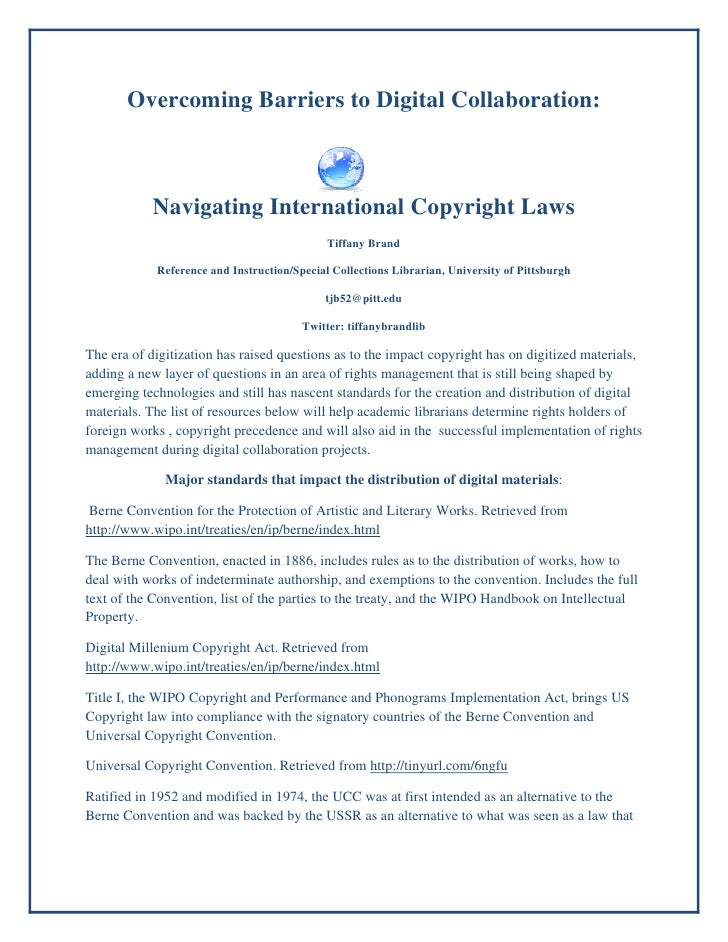 Overcoming Barriers to Digital Collaboration:           Navigating International Copyright Laws                           ...