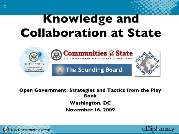 Knowledge and Collaboration at State Open Government: Strategies and Tactics from the Play Book Washington, DC November 16...