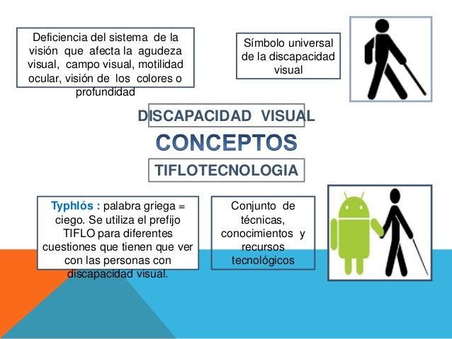 Símbolo universal de la discapacidad visual TIFLOTECNOLOGIA DISCAPACIDAD VISUAL Typhlós : palabra griega = ciego. Se utili...