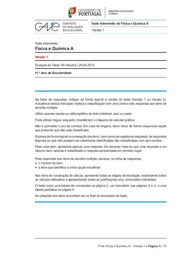 Teste Intermédio de Física e Química A Versão 1  Teste Intermédio  Física e Química A Versão 1 Duração do Teste: 90 minuto...