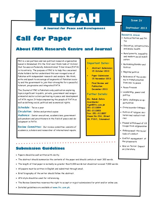 Call for Paper About FATA Research Centre and Journal  Papers should be well-written with clarity.  The abstract should ...