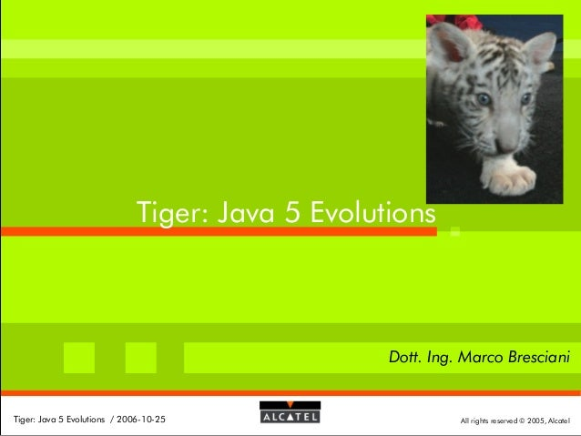 Tiger: Java 5 Evolutions  Dott. Ing. Marco Bresciani  Tiger: Java 5 Evolutions / 2006-10-25  All rights reserved © 2005, A...