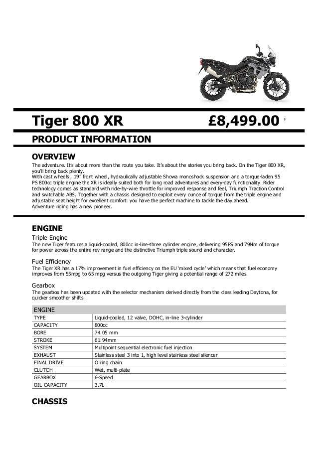 Triumph Tiger 800 Xr And Xrx Brochure