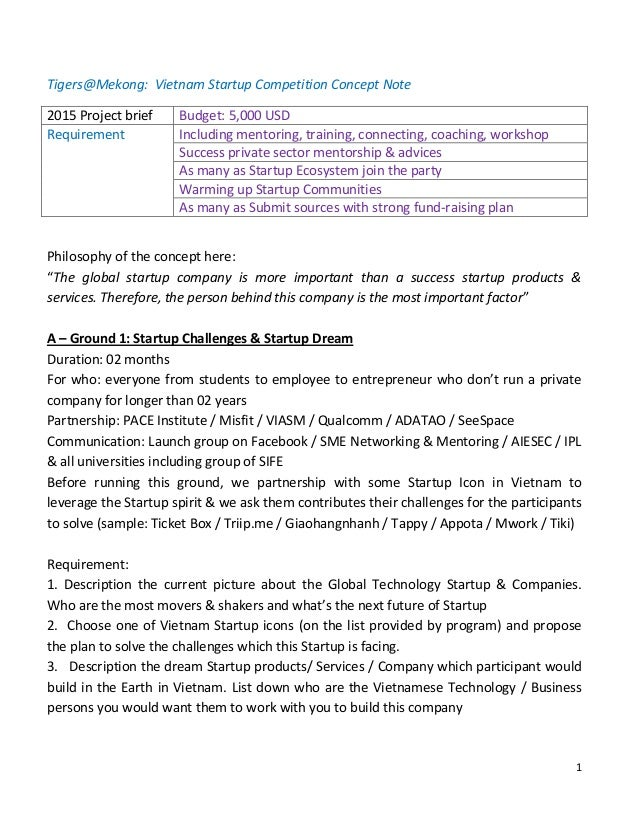 Startup Competition Concept Note