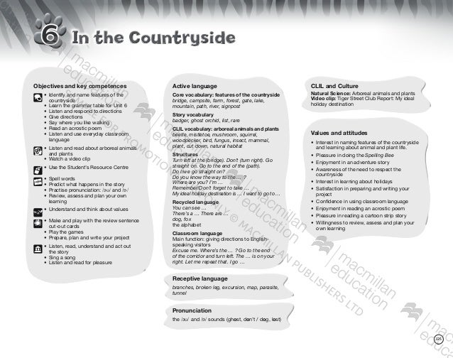 w 125 In the CountrysideIn the Countryside6 Objectives and key competences 	 •	Identify and name features of the 		 countr...