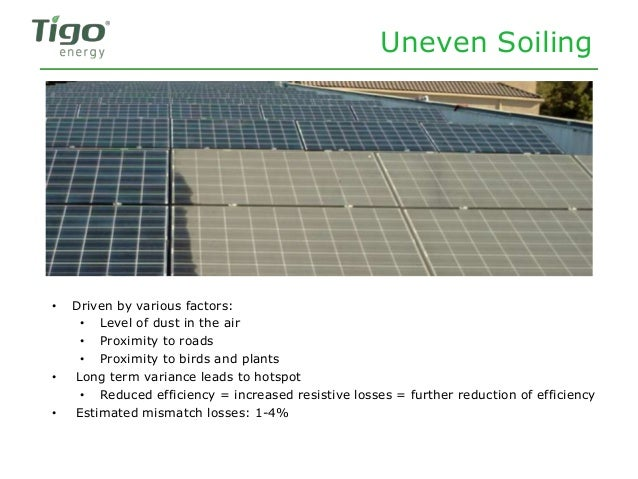 Uneven Soiling • Driven by various factors: • Level of dust in the air • Proximity to roads • Proximity to birds and plant...
