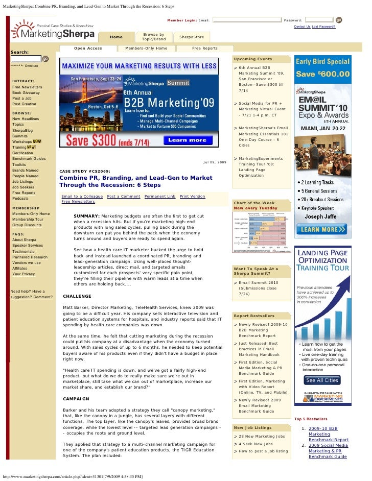 MarketingSherpa: Combine PR, Branding, and Lead-Gen to Market Through the Recession: 6 Steps                              ...