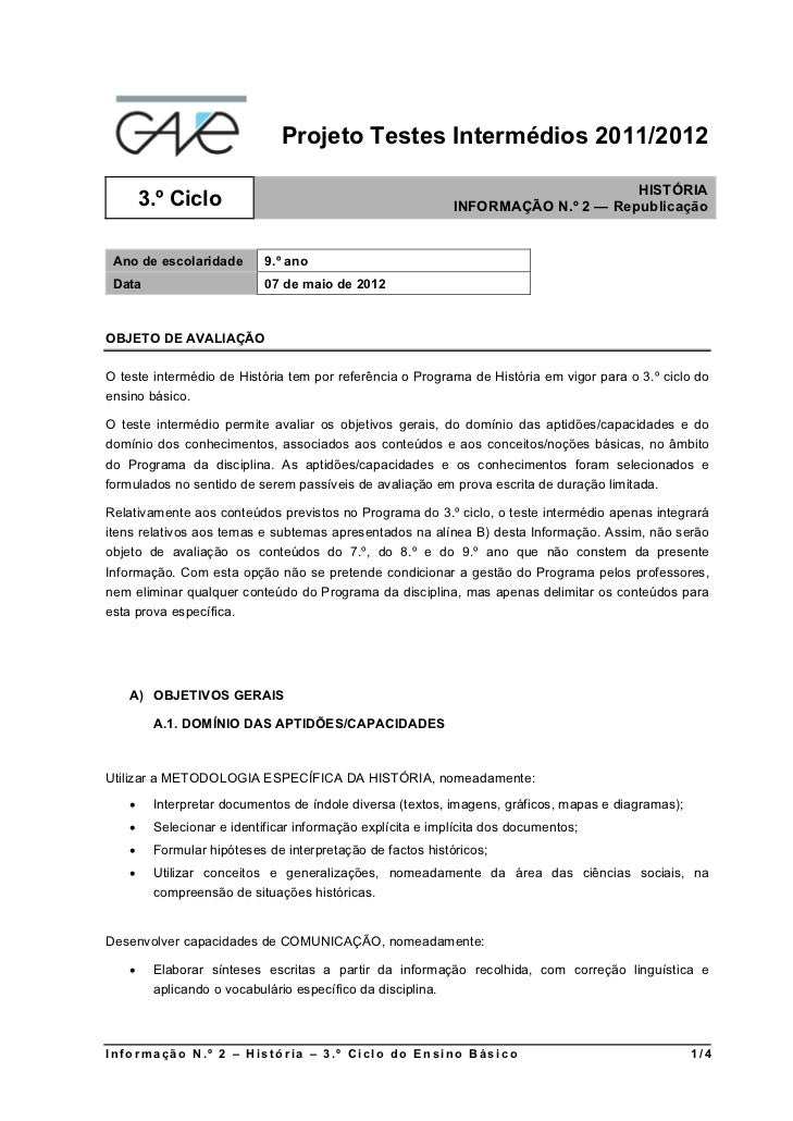 Projeto Testes Intermédios 2011/2012                                                                                  HIST...