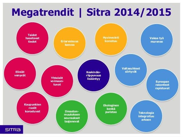 Megatrendit | Sitra 2014/2015  Keskinäis-riippuvuus  Yhteisöt lisääntyy  voimaan-tuvat  Vakaa työ  murenee  Euroopan  rake...