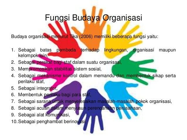 Fungsi Budaya Organisasi Budaya organisasi menurut Tika (2006) memiliki beberapa fungsi yaitu: 1. Sebagai batas pembeda te...