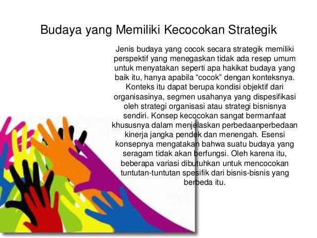 Budaya yang Memiliki Kecocokan Strategik Jenis budaya yang cocok secara strategik memiliki perspektif yang menegaskan tida...