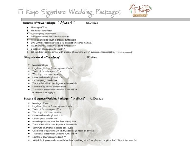 Ti Kaye Signature Wedding Packages Renewal Of Vows Package Afwechi USD 640