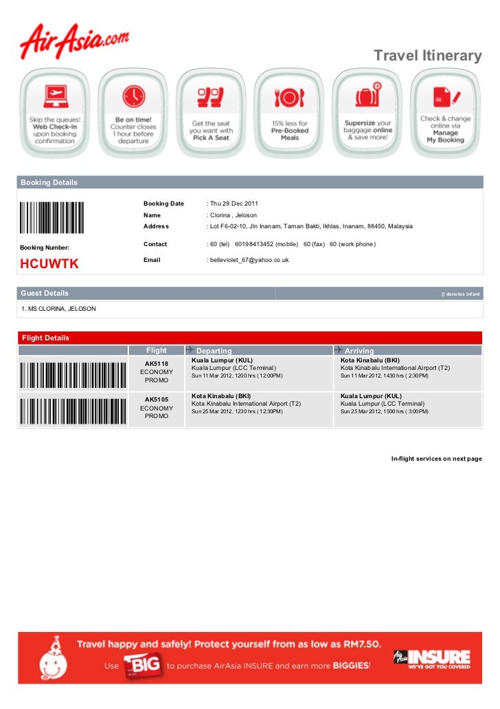 Travel ItineraryBooking Details                         Booking Date        : Thu 29 Dec 2011                         Name...