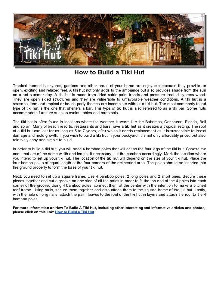 how to build a tiki hut free