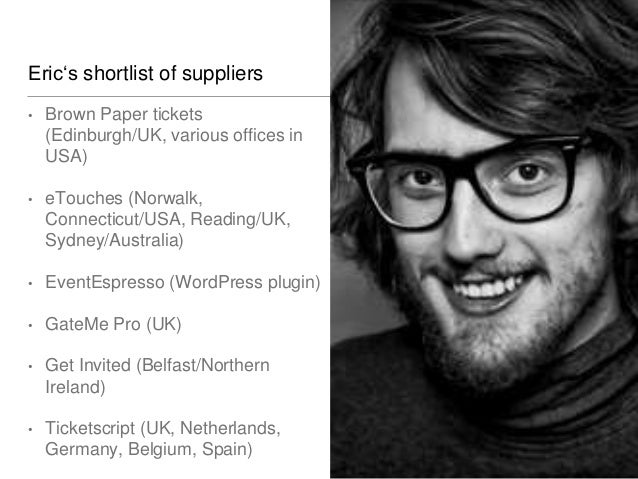 Bernadette's shortlist of suppliers • BookitBee (Kent, UK) • eve.CheckIn (Hannover/Germany) • Zkipster