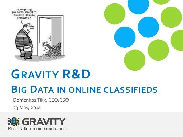 GRAVITY R&D BIG DATA IN ONLINE CLASSIFIEDS Domonkos Tikk, CEO/CSO 23 May, 2014