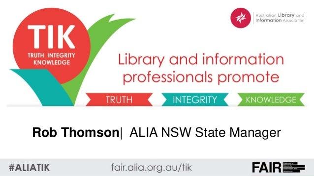 Rob Thomson  ALIA NSW State Manager