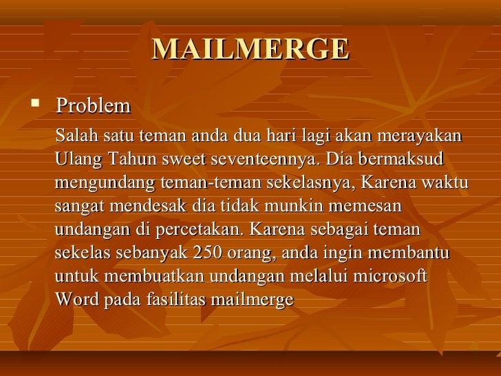 Tik x mail merge