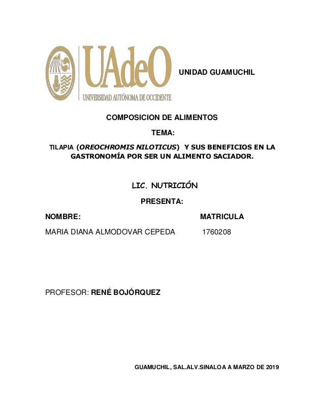1 UNIDAD GUAMUCHIL COMPOSICION DE ALIMENTOS TEMA: TILAPIA (OREOCHROMIS NILOTICUS) Y SUS BENEFICIOS EN LA GASTRONOMÍA POR S...