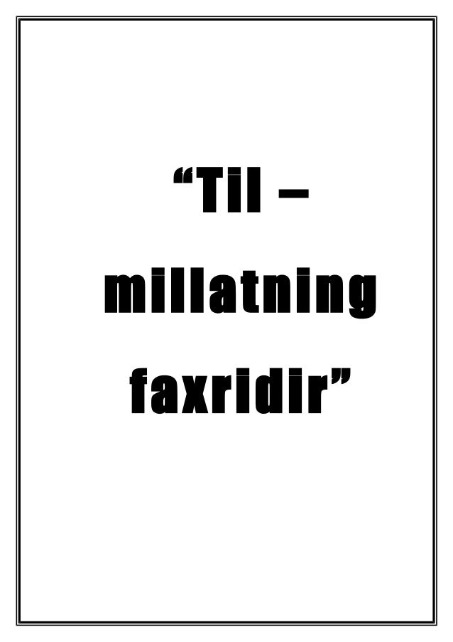 """Til – millatning faxridir"""