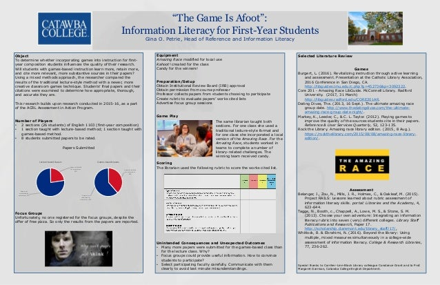 """""""The Game Is Afoot"""": Information Literacy for First-Year Students Gina O. Petrie, Head of Reference and Information Litera..."""