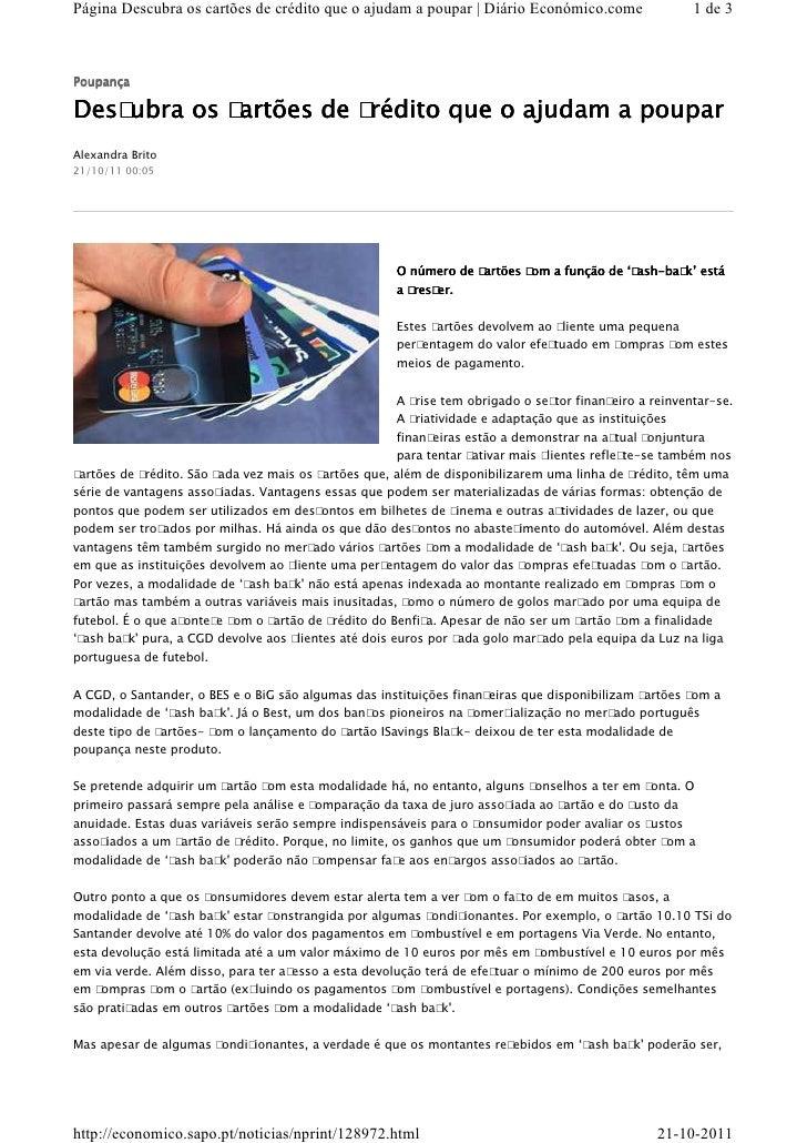 Página Descubra os cartões de crédito que o ajudam a poupar | Diário Económico.come                     1 de 3PoupançaDesc...