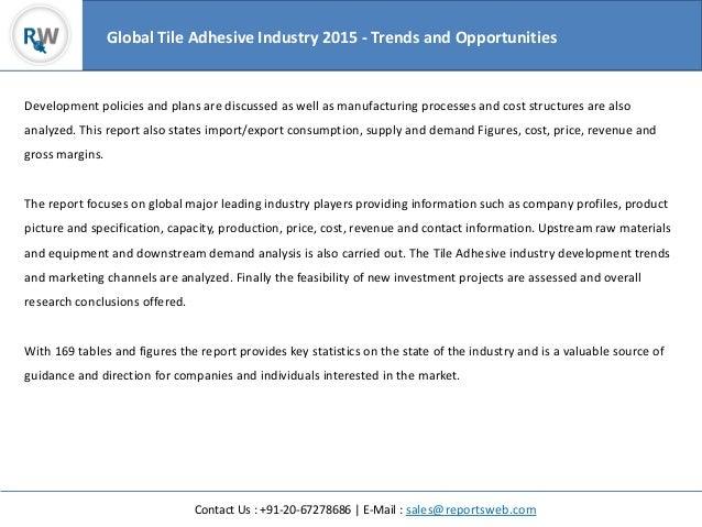 Global Tile Adhesive Industry 2015 Analysis By Regions
