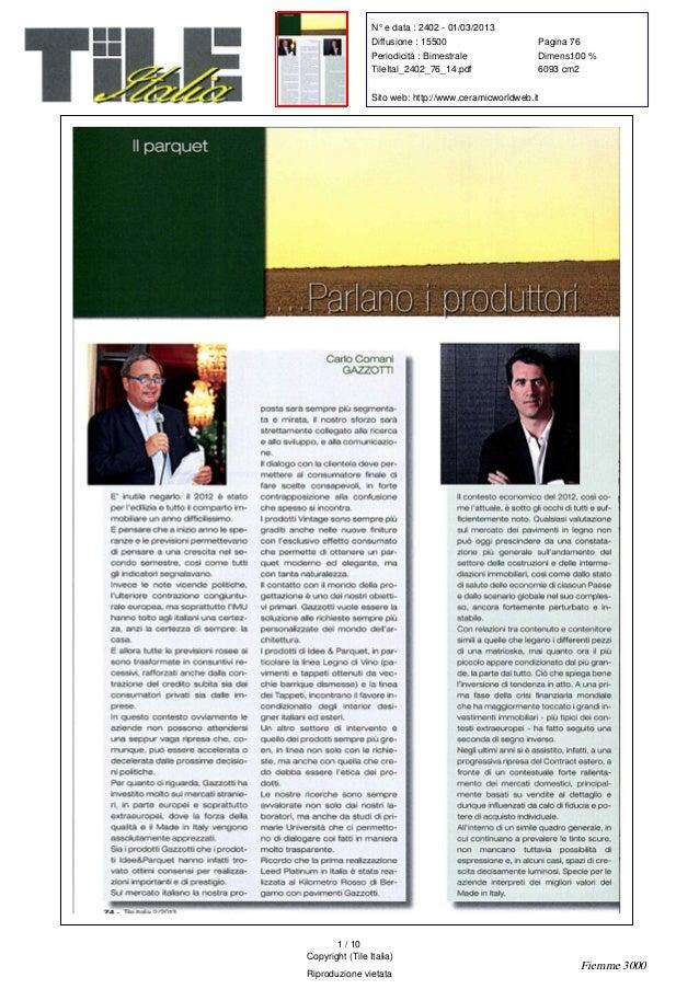 N° e data : 2402 - 01/03/2013Diffusione : 15500 Pagina :76Periodicità : Bimestrale Dimens. :100 %TileItal_2402_76_14.pdf 6...