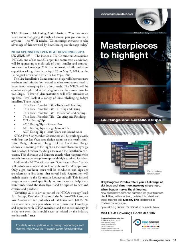 TILE Magazine (BNPMedia) March/April 2014 Issue Features an