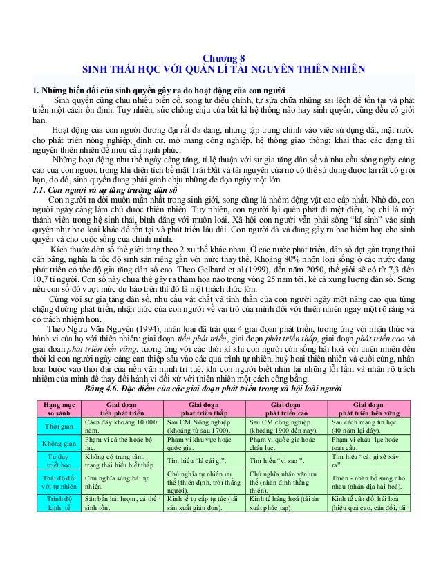 Chương 8 SINH THÁI HỌC VỚI QUẢN LÍ TÀI NGUYÊN THIÊN NHIÊN 1. Những biến đổi của sinh quyển gây ra do hoạt động của con ngư...
