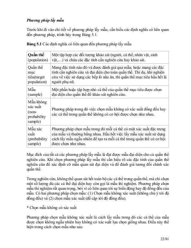 Phương pháp lấy mẫu Trước khi đi vào chi tiết về phương pháp lấy mẫu, cần hiểu các định nghĩa có liên quan đến phương pháp...