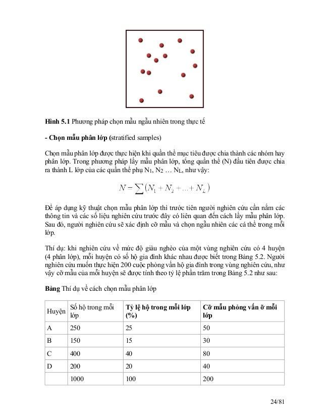 Hình 5.1 Phương pháp chọn mẫu ngẫu nhiên trong thực tế - Chọn mẫu phân lớp (stratified samples) Chọn mẫu phân lớp được thự...