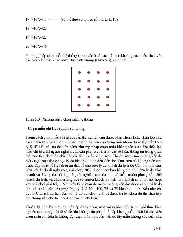 17. 94675411 < ==== (cá thể được chọn có số thứ tự là 17) 18. 94675420 19. 94675422 20. 94675416 Phương pháp chọn mẫu hệ t...