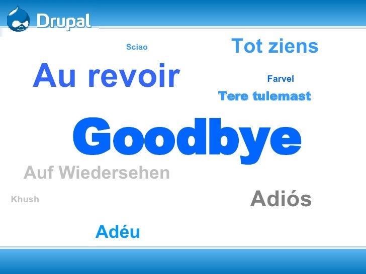 Goodbye Auf Wiedersehen   Adiós Au revoir Tot ziens Adéu   Khush Farvel   Sciao   Tere tulemast